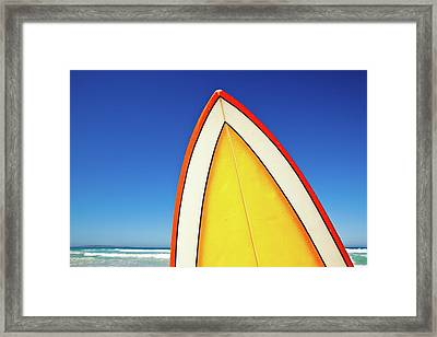 Retro Surf Board At Beach, Australia Framed Print by John White Photos