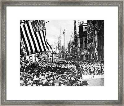 Returning U.s. Troops Marching Up Fifth Framed Print by Everett