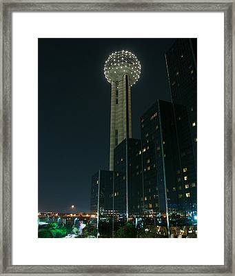Reunion Tower By Night Framed Print by John Kain