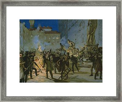 Revolution In Florence Framed Print by Italian School