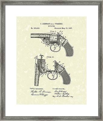 Revolver 1887 Patent Art Framed Print by Prior Art Design