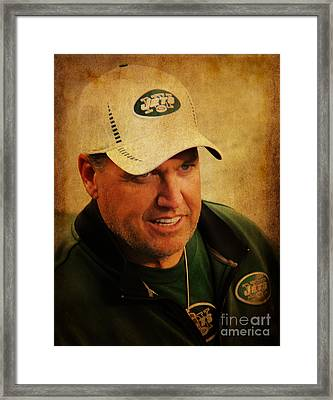 Rex Ryan - New York Jets Framed Print by Lee Dos Santos