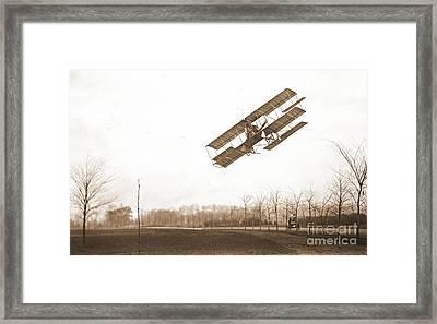 Rex Smith Biplane 1912 Sepia Framed Print