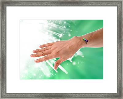 Rfid Chip Capsule, Conceptual Artwork Framed Print by Victor Habbick Visions