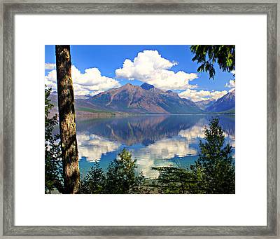 Rflection On Lake Mcdonald Framed Print by Marty Koch
