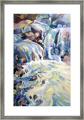 Framed Print featuring the painting Rhapsody In Blues And Greens by Rae Andrews