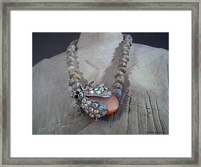 Rhinestone Lady Bug Framed Print by Cynthia Amaral