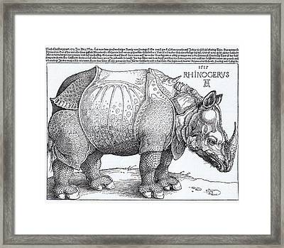 Rhinoceros - Woodcut Framed Print by Pg Reproductions