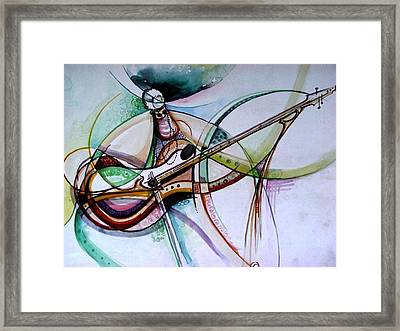 Framed Print featuring the painting Rhythm Of The Strings by Oyoroko Ken ochuko
