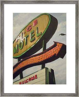 Framed Print featuring the painting Ri-ge Motel by James Guentner