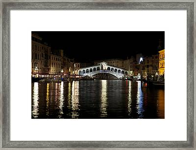 Rialto Bridge At Night Framed Print