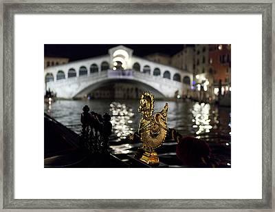 Rialto Bridge From Gondola Framed Print