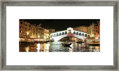 Rialto Bridge Night Scene Framed Print
