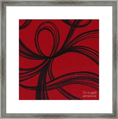 Ribbon On Red Framed Print