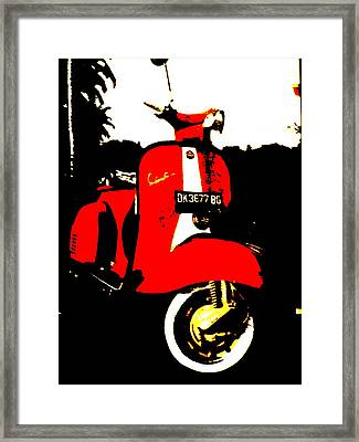 Rice Field Scooter In Ubud Framed Print by Funkpix Photo Hunter