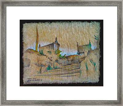 Rice Storage In Muros 1982 Framed Print by Glenn Bautista