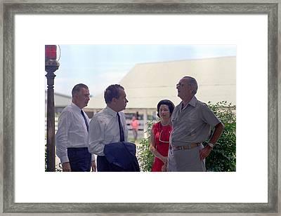 Richard Nixon And Spiro Agnew Visit Framed Print by Everett