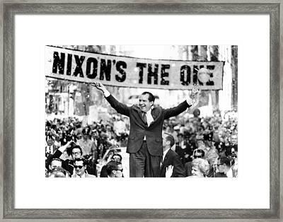 Richard Nixon, Delivering His The V Framed Print by Everett
