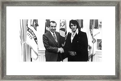 Richard Nixon Meets With Elvis Presely Framed Print by Everett