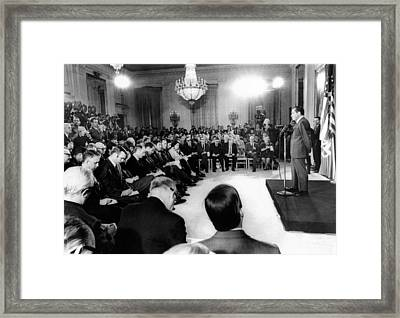 Richard Nixons First Press Conference Framed Print by Everett