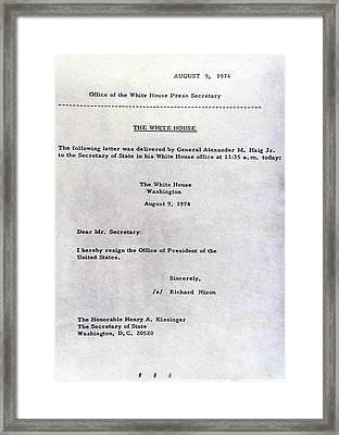 Richard Nixons Letter Of Resignation Framed Print