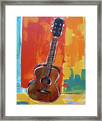 Framed Print featuring the painting Richard's Guitar 2 by John Gibbs