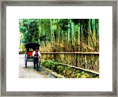 Rickshaw In A Bamboo Forest Framed Print