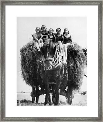 Ride On A Hay Cart Framed Print by Fox Photos