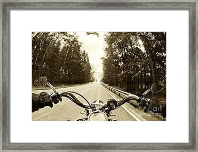 Riders Eye Veiw In Sepia Framed Print by Micah May