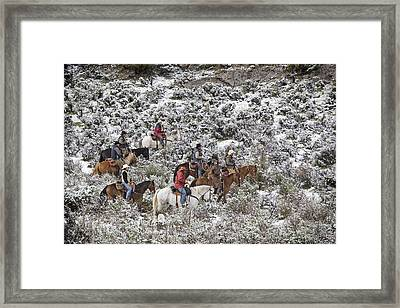 Riders In The Snowy Sage Framed Print