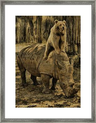 Riding Along- Rhino And Bear Framed Print by Lourry Legarde
