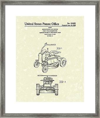Riding Power Lawn Mower Patent Art  Framed Print by Prior Art Design