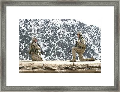 Riflemen Provide Security On A Rooftop Framed Print by Stocktrek Images