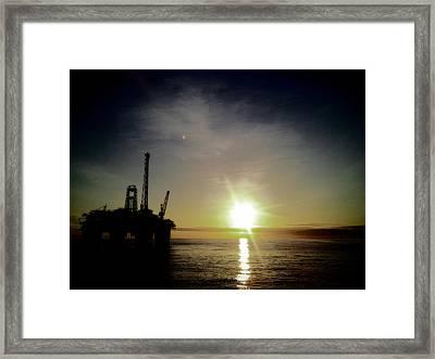 Rig Sundown Framed Print by Bob Furness