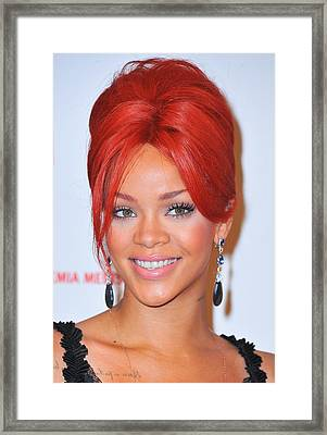 Rihanna At A Public Appearance For Dkms Framed Print