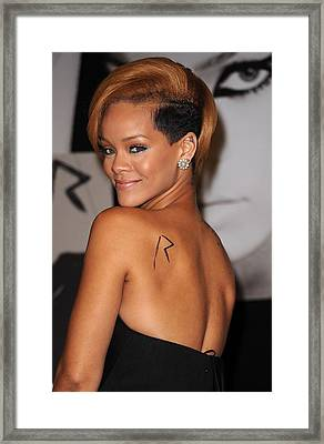 Rihanna At In-store Appearance Framed Print by Everett