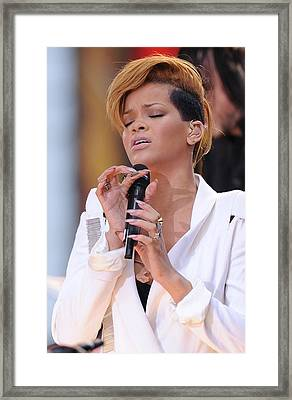 Rihanna On Stage For Good Morning Framed Print by Everett