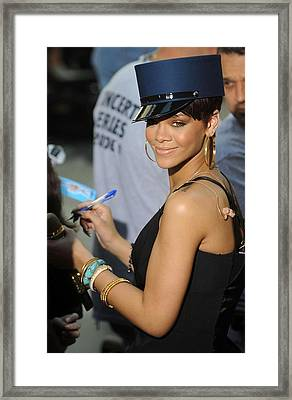 Rihanna On Stage For Nbc Today Show Framed Print by Everett