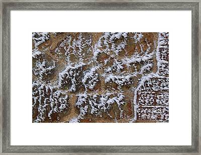 Rime-covered Brick And Stone Wall Framed Print by Mark Taylor