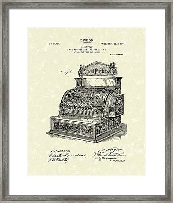 Ringold Cash Register 1904 Patent Art Framed Print