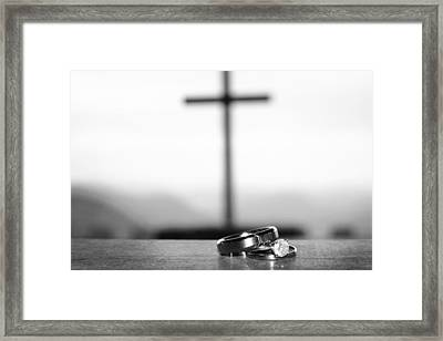 Framed Print featuring the photograph Rings And Cross by Kelly Hazel