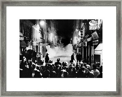 Riot Policemen At A Burning Barricade Framed Print by Everett