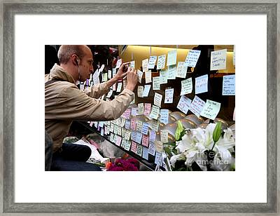 Rip Steve Jobs . October 5 2011 . San Francisco Apple Store Memorial 7dimg8576 Framed Print by Wingsdomain Art and Photography