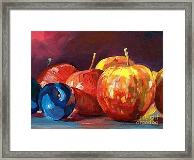 Ripe Plums And Apples Framed Print by David Lloyd Glover