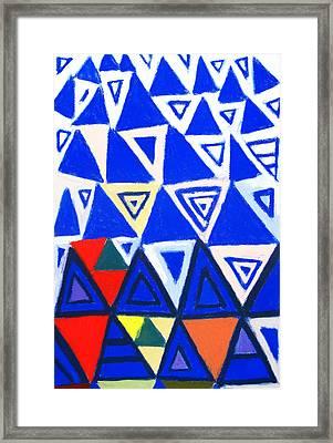 Rising Blue Triangles Framed Print by Kazuya Akimoto