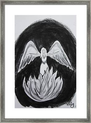 Framed Print featuring the drawing Rising From The Flames by Serene Maisey