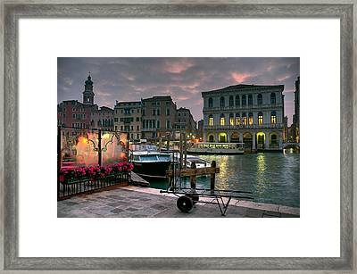 Riva Del Vin. Venezia Framed Print by Juan Carlos Ferro Duque
