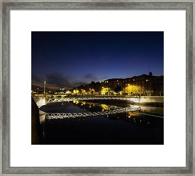 River Liffey, Millenium Footbridge At Framed Print