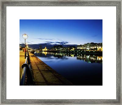River Liffey, Sunset, View Of Customs Framed Print