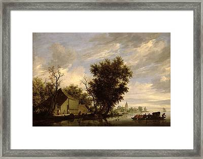 River Scene With A Ferry Boat Framed Print by Salomon van Ruysdael